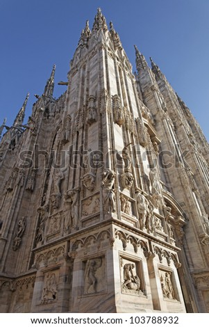Milan Cathedral (Italian: Duomo di Milano) is the cathedral church of Milan, Italy. - stock photo