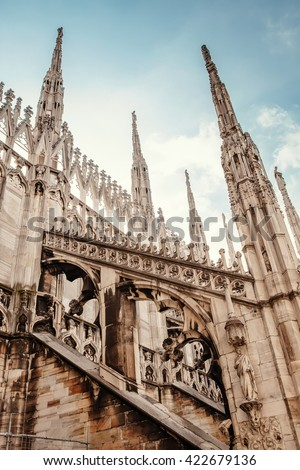 Milan Cathedral Roof Gallery Stock Photo 461360590