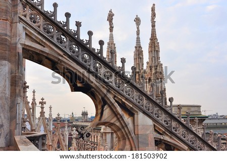 Milan Cathedral. View of Duomo cathedral from the roof. - stock photo