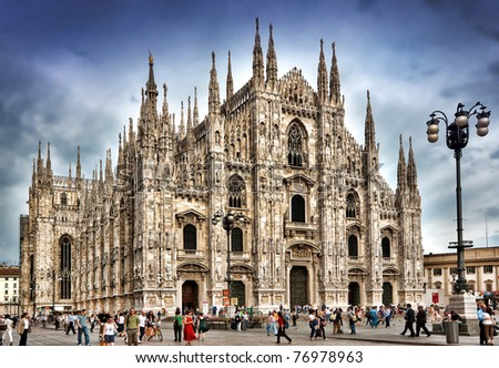 MILAN - CIRCA JULY 2009: Milan Cathedral is the cathedral church of Milan in Lombardy, northern Italy, circa July 2009. The Gothic cathedral took nearly six centuries to complete.