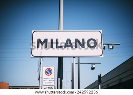 Milan city sign  - stock photo
