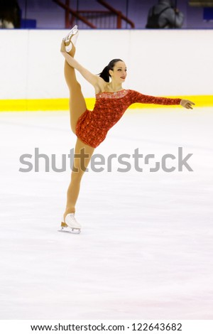 MILAN-DECEMBER 22: Giada Russo  perform in Italian Championships of Figure Skating 2012 on December 22 , 2012 in Milan, Italy - stock photo
