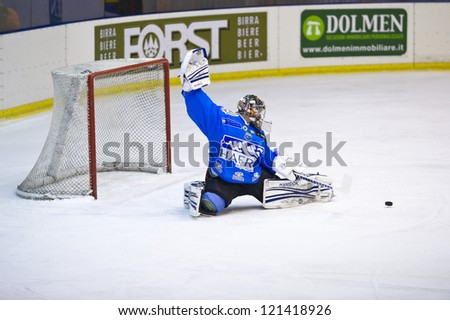 MILAN, DECEMBER, 8: J. P. Levasseur ( Goalie Cortina )during  H.C. Milan - H.C. Cortina in Italian Ice Hockey Premier League on December 8,  2012, Milan - stock photo