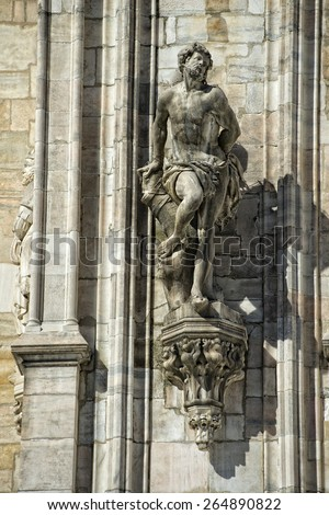Milan Dome gothic Cathedral statue detail - stock photo