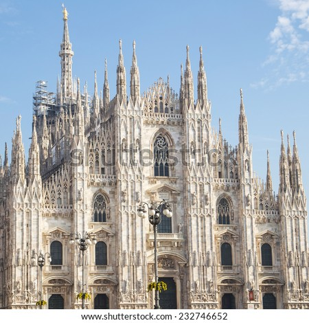 Milan, facade of the cathedral - stock photo