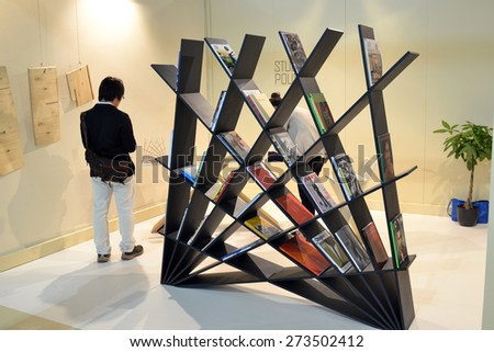 MILAN, ITALY - APR 14: External of Salone del Mobile, international furnishing accessories exhibition in Milan, Italy- April 14, 2015  - stock photo