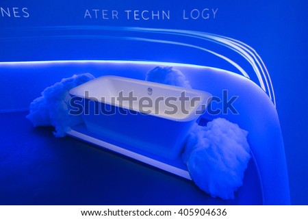 MILAN, ITALY - APRIL 13: Bath tub on display at Fuorisalone, set of events distributed in different areas of the town during Milan Design Week on APRIL 13, 2016 in Milan. - stock photo