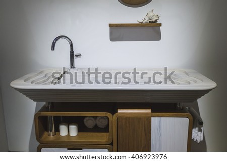 MILAN, ITALY - APRIL 16: Bathroom sink on display at Fuorisalone, set of events distributed in different areas of the town during Milan Design Week on APRIL 16, 2016 in Milan. - stock photo