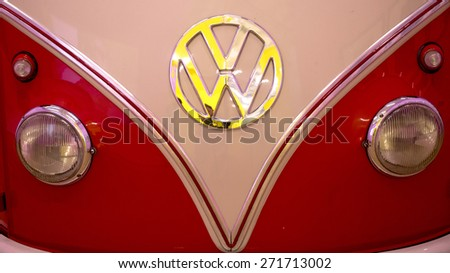 MILAN, ITALY-APRIL 17, 2015: close up of a vintage Volkswagen van displayed during the exhibition Arts and Foods, at La Triennale museum, in Milan. - stock photo