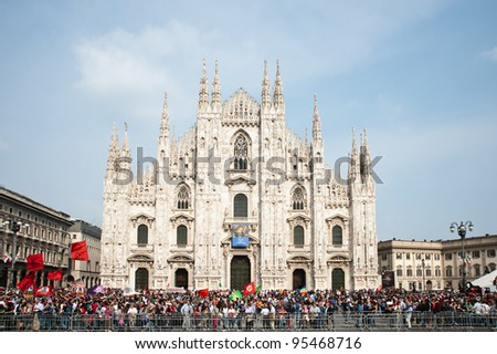 MILAN, ITALY - APRIL 25: Crowd of people in Piazza Duomo in Milan on April 25, 2011 celebrates the country's liberation from fascists and nazis in 1945.