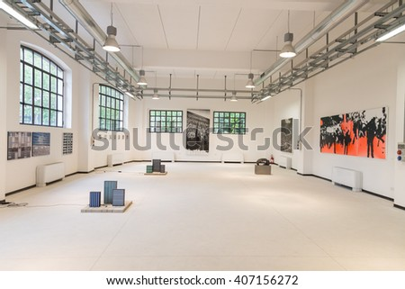 MILAN, ITALY - APRIL 16: Exhibition at Fuorisalone, set of events distributed in different areas of the town during Milan Design Week on APRIL 16, 2016 in Milan. - stock photo