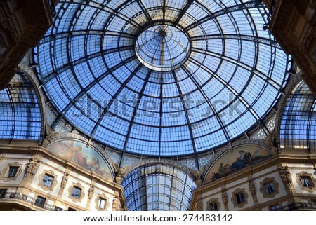 MILAN, ITALY - APRIL 30: gallery Vittorio Emanuele , on April 30, 2015 in Milan, Italy  - stock photo