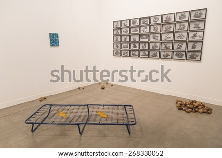 MILAN, ITALY - APRIL 10: Installation on display at Miart, international exhibition of modern and contemporary art on APRIL 10, 2015 in Milan. - stock photo