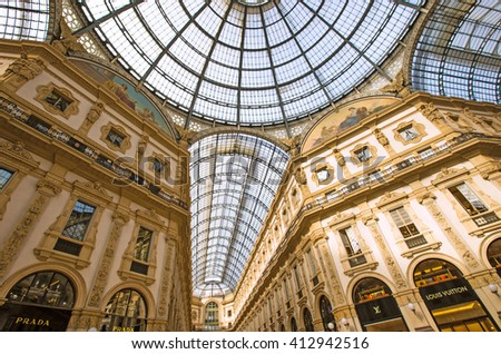 MILAN-ITALY -APRIL-9-2016: Luxury shop in Galleria Vittorio Emanuele at Milan, Italy  - stock photo
