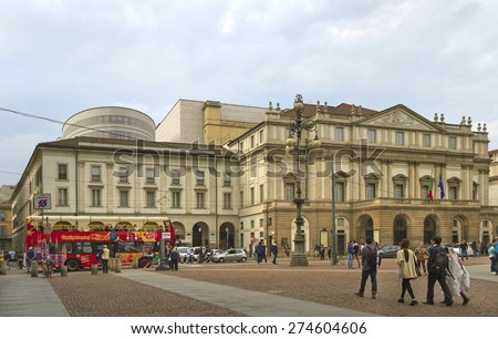 MILAN, ITALY - 26 APRIL: Milan is the second-most populous city in Italy and the capital of Lombardy. Old  theater Alla Scala in Milan, Italy on 26 April, 2015. - stock photo