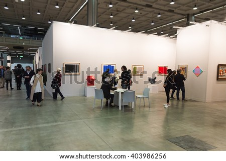 MILAN, ITALY - APRIL 8: People visit Miart, international exhibition of modern and contemporary art on APRIL 8, 2016 in Milan.