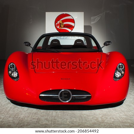 MILAN, ITALY - APRIL, 13: The new Ermini sport car design by Giulio Cappellini exsposed in the Temporary Museum for New Design during the Milan design week 8th - 13th April, on April 13, 2014 - stock photo