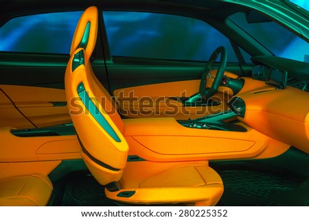 MILAN, ITALY - APRIL 16: View of front interior for a new car at displayed Tortona space location of important events during Milan Design week on April 16, 2015 - stock photo