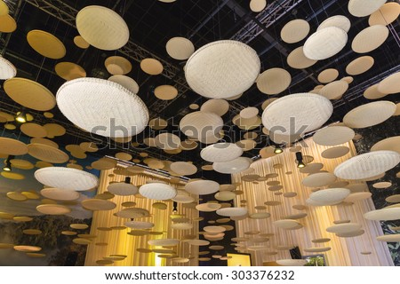 MILAN, ITALY - AUGUST 3: Architectural detail inside Brunei pavilion at Expo, universal exposition on the theme of food on AUGUST 3, 2015 in Milan. - stock photo