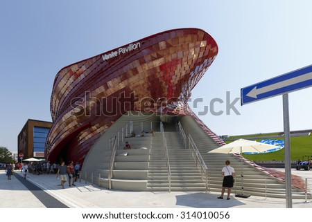 Milan, Italy, 12 August 2015: Detail of the Vanke pavilion at the exhibition Expo 2015 Italy.