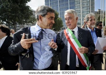 MILAN, ITALY - AUGUST 29: Giuliano Pisapia protest in Milan August 29, 2011. The government decided to cut the small municipalities to save money.