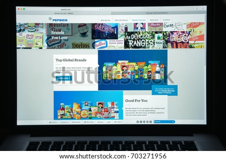 Milan, Italy - August 10, 2017: Pepsi co website homepage. It is an American multinational food, snack, and beverage corporation. Pepsico logo visible.