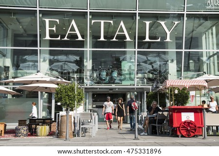 MILAN, ITALY - AUGUST 26, 2016: The exterior of one of the popular supermarkets Eataly in Milan, Italy.