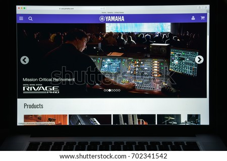 Milan, Italy - August 10, 2017: Yamaha website homepage.  Yamaha logo visible.