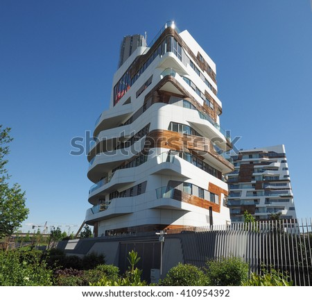 MILAN, ITALY - CIRCA APRIL 2016: CityLife Milano residential complex designed by Zaha Hadid architects - stock photo