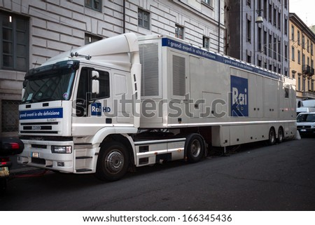MILAN, ITALY - DECEMBER 7: Italian television's technical vehicle outside La Scala opera house on DECEMBER 7, 2013 in Milan.