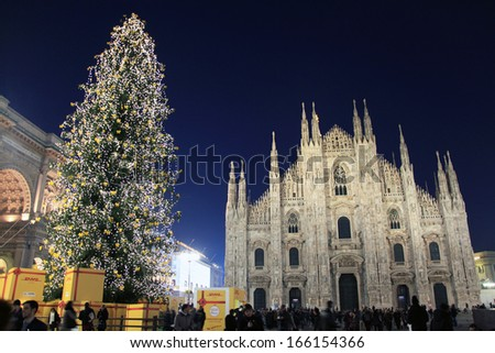 MILAN, ITALY - DECEMBER 5: The cathedral of Duomo during the inauguration of Christmas Tree lights December 5, 2013 in Milan, Italy.  - stock photo