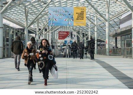 MILAN, ITALY - FEB, 12: visitors visit the Rho-Fiera-Milano in Milan on February 12, 2015 during Bit. - stock photo