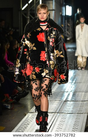 MILAN, ITALY - FEBRUARY 28: A model walks the runway at the MSGM show during Milan Fashion Week Fall/Winter 2016/17 on February 28, 2016 in Milan, Italy.