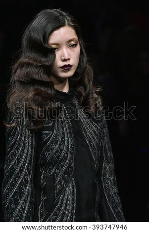 MILAN, ITALY - FEBRUARY 28: A model walks the runway at the Richmond show during Milan Fashion Week Fall/Winter 2016/17 on February 28, 2016 in Milan, Italy.