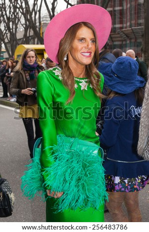 Milan, Italy - February 27, 2015: Anna Dello Russo attending Emporio Armani fashion show during Milan Fashion week Womenswear fall/winter 2015/16