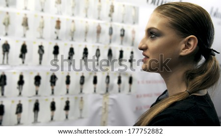 MILAN, ITALY-FEBRUARY 25, 2010: Backstage models dresses's board of the spring-summer fashion show of Blugirl.