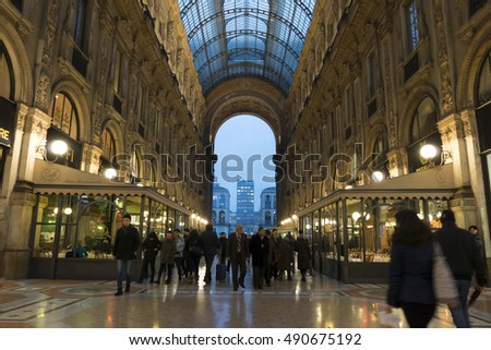 Milan, Italy, 9 February 2014. Glass dome of Galleria Vittorio Emanuele in Milan, Italy, 9 February 2014.