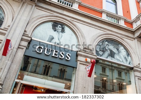 MILAN, ITALY - FEBRUARY 20: Guess store with a Sophia Loren look alike