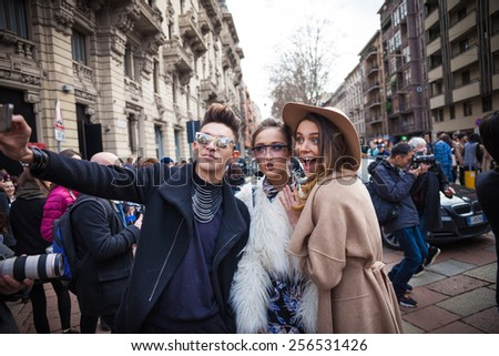 Milan, Italy - February 25, 2015: Linda Tol attending the Gucci Fashion show during Milan Fashion Week  Women Fall/Winter 2015/16