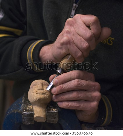 MILAN, ITALY-FEBRUARY 23, 2015: marionettes handicraft worker on the laboratory of the Carlo Colla Company theatre, in Milan.