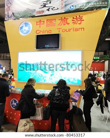 MILAN, ITALY - FEBRUARY 20: People visit China stand at BIT, International Tourism Exchange Exhibition February 20, 2010 in Milan, Italy.