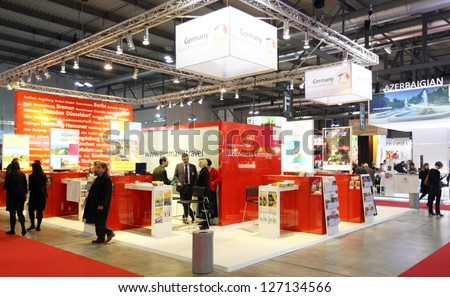 MILAN, ITALY - FEBRUARY 16: People visit Germany exhibition area during BIT, International Tourism Exchange Exhibition on February 16, 2012 in Milan, Italy. - stock photo