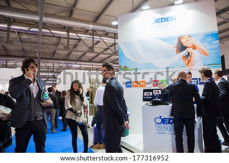MILAN, ITALY - FEBRUARY 13: people visiting BIT, International Tourism Exchange Exhibition on February 13, 2014 in Milan, Italy - stock photo