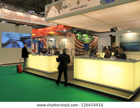 MILAN, ITALY - FEBRUARY 17: People visiting tourism stand at BIT, International Tourism Exchange Exhibition on February 17, 2011 in Milan, Italy. - stock photo