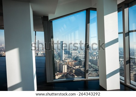 Milan, Italy - February 9 2015: Porta Nuova, panoramic view from the Diamond Tower inside