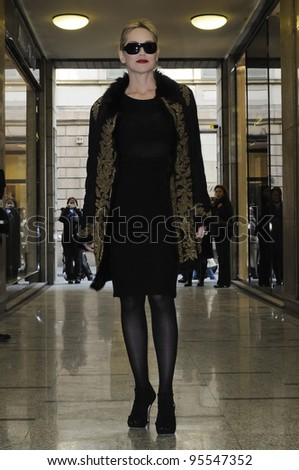 MILAN, ITALY - FEBRUARY 16: Sharon Stone in Milan on February, 16 2012. Famous Actress Sharon Stone visiting for renewal of Damiani's jewelry in Corso Como. - stock photo