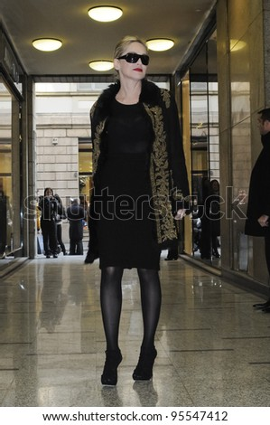 MILAN, ITALY - FEBRUARY 16: Sharon Stone in Milan on February, 16 2012. Famous Actress Sharon Stone visiting for renewal of Damiani's jewelry in Corso Como.