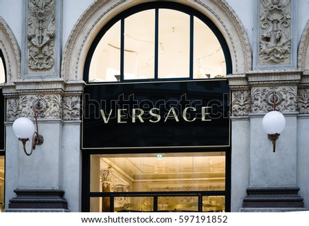 Milan, Italy - February 28, 2017: Shop window of a Versace logo on a Versace store in Milan