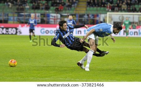 MILAN, ITALY-FEBRUARY 03, 2016: soccer players action during the italian serie A match FC Internazionale vs Chievo Verona, at the san siro stadium, in Milan.