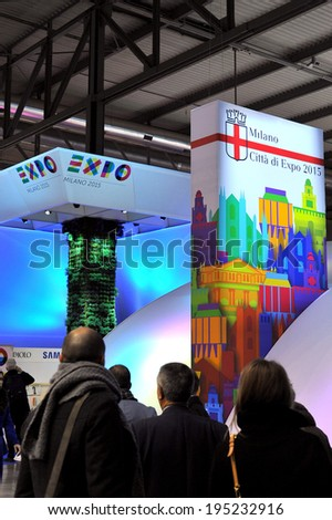 MILAN, ITALY - FEBRUARY 13: Stand Milan at BIT, International Tourism Exchange Exhibition on February 13, 2014 in Milan, Italy  - stock photo